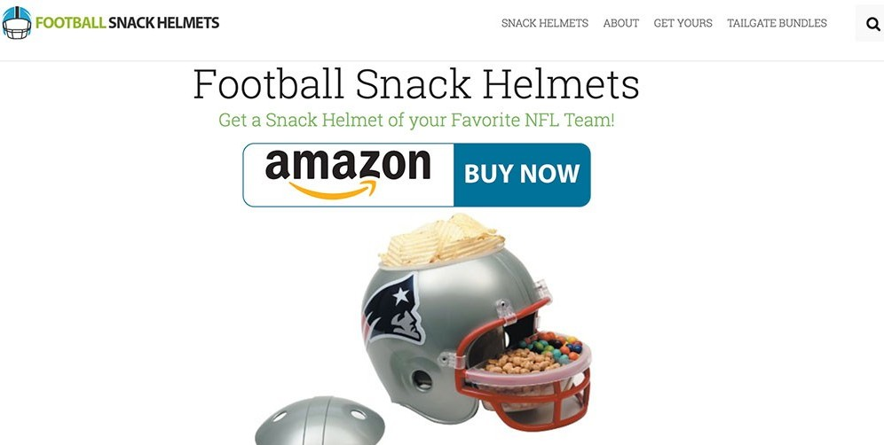 Learn how to make money with Wealthy Affiliate by promoting Football Snack Helmets example